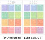 color calendar for 2019  2020...   Shutterstock .eps vector #1185685717