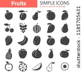 fruits simple icons set | Shutterstock .eps vector #1185705631