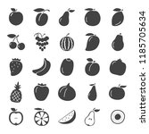 fruits simple icons set | Shutterstock .eps vector #1185705634