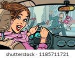 Joyful Woman Driver  Accident...