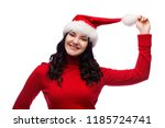 cheerful young woman in red... | Shutterstock . vector #1185724741