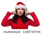 brunette woman in christmas hat ... | Shutterstock . vector #1185724744