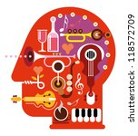 Abstract Music Head   Isolated...
