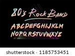 retrofuturistic font inspired... | Shutterstock .eps vector #1185753451