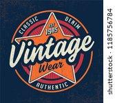 vintage garment and denim wear... | Shutterstock .eps vector #1185756784