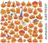 jack o' lantern doodle set.... | Shutterstock .eps vector #1185759247