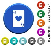 six of hearts card round color...   Shutterstock .eps vector #1185761587