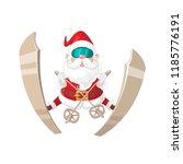 santa claus ski jumping  ... | Shutterstock .eps vector #1185776191