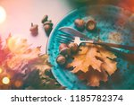 thanksgiving dinner.... | Shutterstock . vector #1185782374