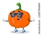 cartoon pumpkin character...   Shutterstock .eps vector #1185784684