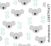 seamless pattern with koala and ... | Shutterstock .eps vector #1185791677