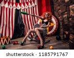 creepy and beautiful female... | Shutterstock . vector #1185791767