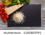 fragrant grated parmesan on a... | Shutterstock . vector #1185805591