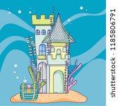undersea castle cartoon   Shutterstock .eps vector #1185806791