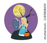 girl with fairy godmother... | Shutterstock .eps vector #1185808654