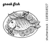 greek fish hand drawn vector... | Shutterstock .eps vector #1185818527