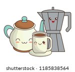 kawaii coffee design | Shutterstock .eps vector #1185838564