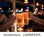 close up glass of light beer at ... | Shutterstock . vector #1185849394