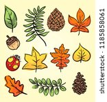 doodle autumn leaves | Shutterstock .eps vector #1185858061