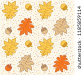 autumn leaves doodle pattern | Shutterstock .eps vector #1185859114