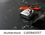 using a utility knife with... | Shutterstock . vector #1185860557