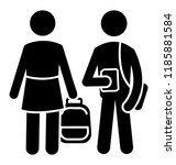 male and female siblings... | Shutterstock .eps vector #1185881584