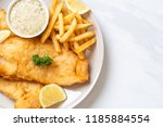 fish and chips with french... | Shutterstock . vector #1185884554