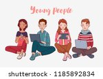 young people using digital... | Shutterstock .eps vector #1185892834