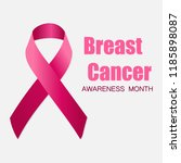 realistic pink ribbon  breast... | Shutterstock .eps vector #1185898087