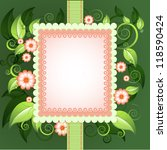 floral frame with green leaves. ... | Shutterstock .eps vector #118590424