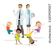 couple of doctors and happy... | Shutterstock .eps vector #1185909007