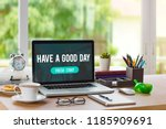 home office workplace with... | Shutterstock . vector #1185909691