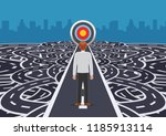 businessman standing on road... | Shutterstock .eps vector #1185913114