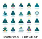 christmas tree flat icons set.... | Shutterstock .eps vector #1185931534