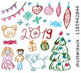 new year 2019. new year's set... | Shutterstock .eps vector #1185942844