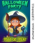 halloween party poster... | Shutterstock .eps vector #1185949411