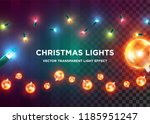 vector vintage christmas lights.... | Shutterstock .eps vector #1185951247