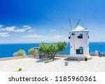 old windmill in agios nikolaos... | Shutterstock . vector #1185960361