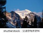 sunset on mount temple as seen... | Shutterstock . vector #1185969394