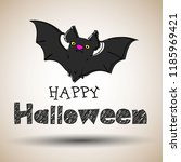 halloween black bat icon set.... | Shutterstock .eps vector #1185969421