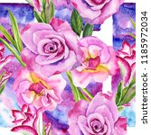wildflower rose and gladiolus... | Shutterstock . vector #1185972034