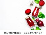 delicious beetroot smoothies in ... | Shutterstock . vector #1185975487