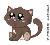 cute brown kitty with big blue...   Shutterstock .eps vector #118598635