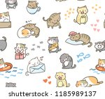 doodle cute little cat vector... | Shutterstock .eps vector #1185989137