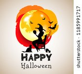 halloween night background... | Shutterstock .eps vector #1185991717