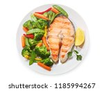 plate of grilled salmon steak... | Shutterstock . vector #1185994267