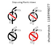 stop using plastic straws icon  ... | Shutterstock .eps vector #1185998077