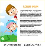 funny kids peeking over big... | Shutterstock .eps vector #1186007464