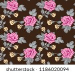 seamless pattern with rose... | Shutterstock .eps vector #1186020094