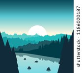 lake in the forest. vector... | Shutterstock .eps vector #1186020187